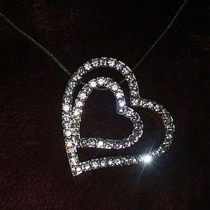 VJ double heart necklace